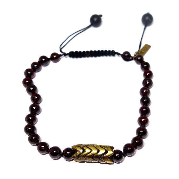 Garnet, Bronze, & Onyx Adjustable Bracelet