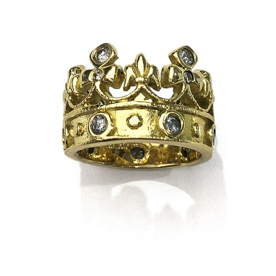 Gold & Diamond Fleur-De-Lis Crown Midi Ring