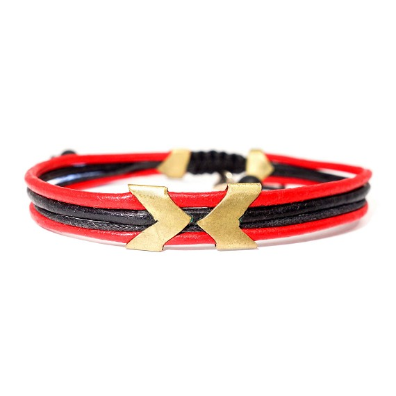 Greek Leather & Brass Accent Bracelet