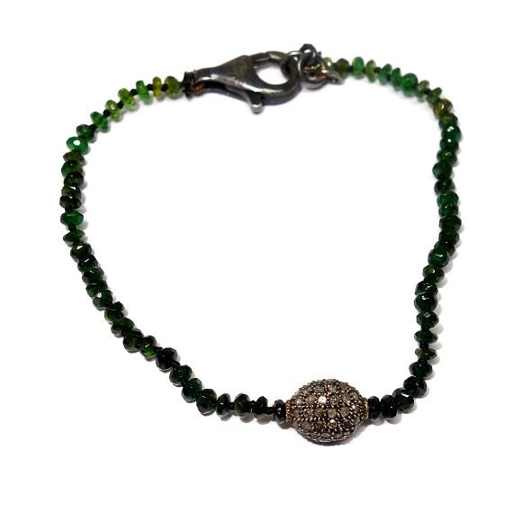 Green Tourmaline, Diamond, & Silver Bracelet