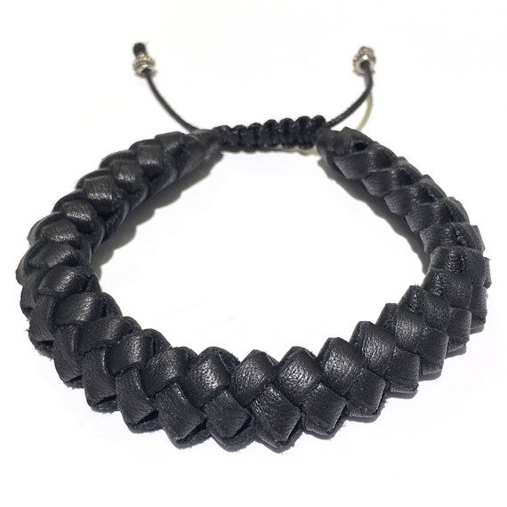 Intricately Hand-Woven Leather Men's Bracelet