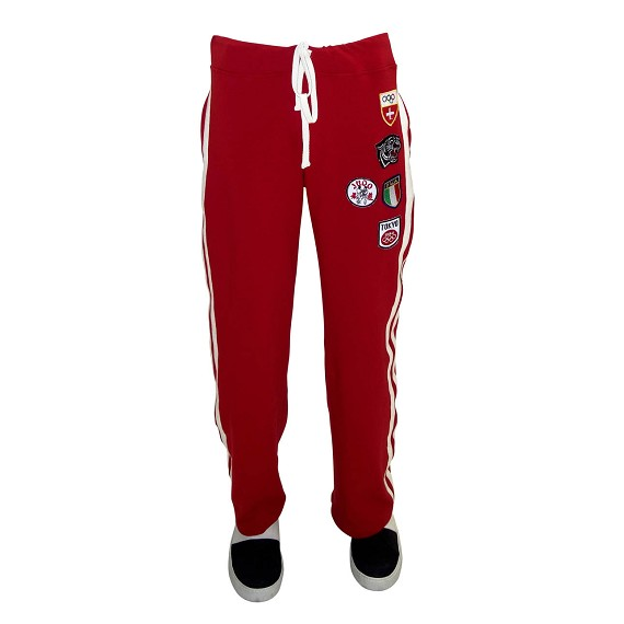 Red Patchwork Track Pant