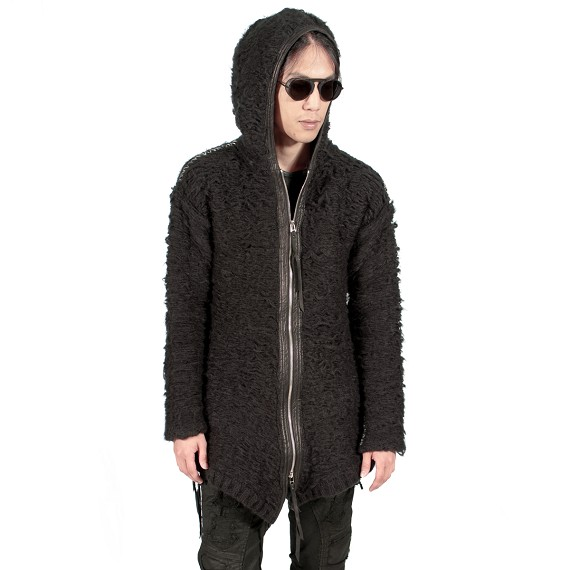 KMRii Mohair & Leather Zip Parka