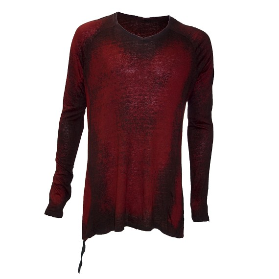 KMRii Red and Black Distressed Top