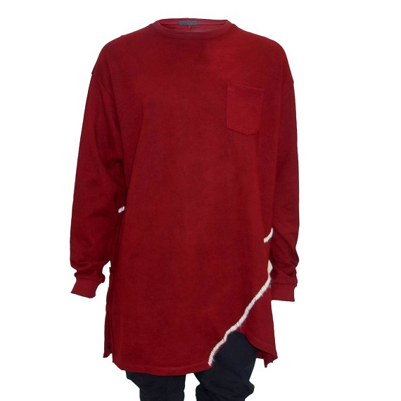 Red KMRii Slash Mohair Hand Stitched Long Sleeve Pullover