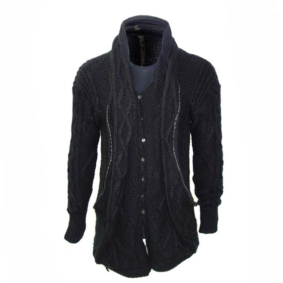 Kmrii Woven Mohair Button Up Cardigan