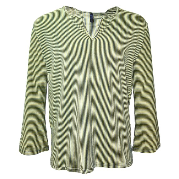 Lazaro Green and Navy Stripe Flared Sleeve Shirt
