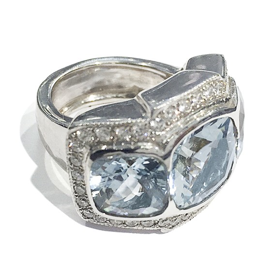 Three Stone Cushion Cut Aquamarine Ring
