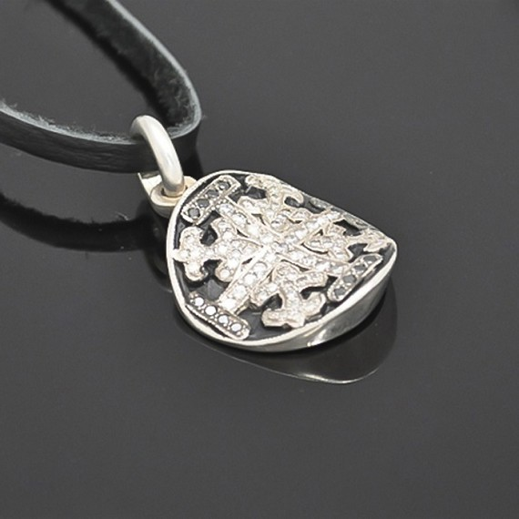 Concaved Shield Pendant with Black & White Diamonds