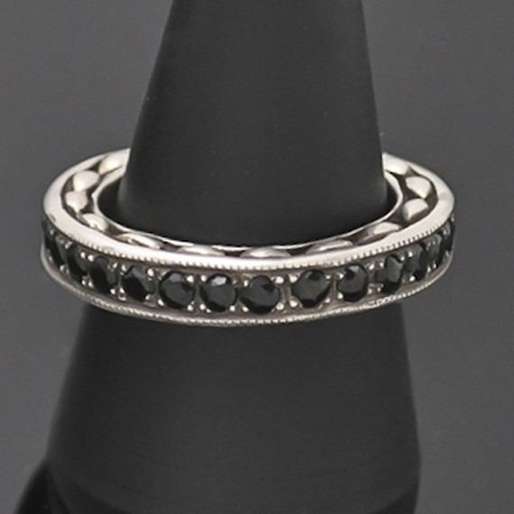 Silver Ring with Beaded Onyx