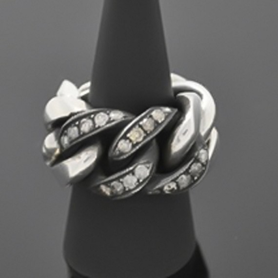 Chain Ring with Black & White Diamonds