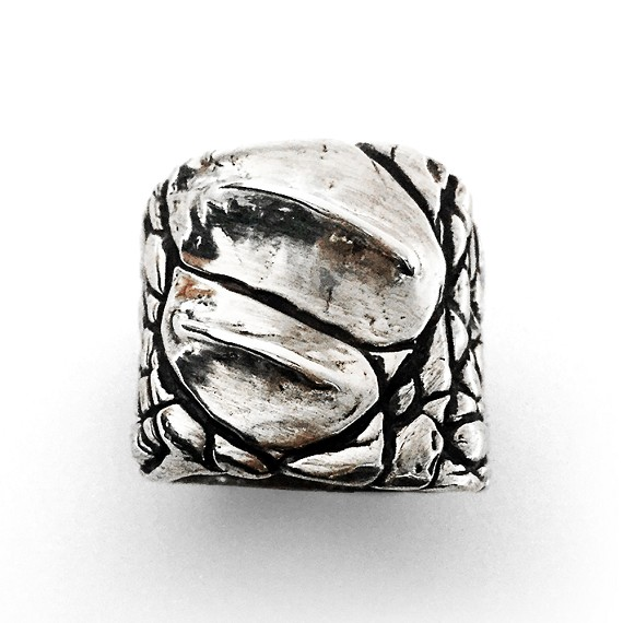 Large Sterling Silver Crocodile Print Ring