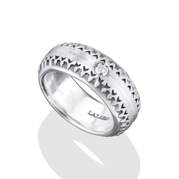 Silver With Diamond Band