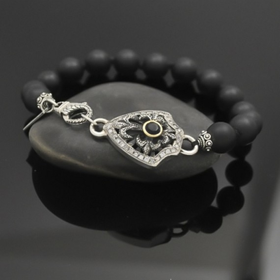 Black Diamond Shield Bracelet with 18K Gold & Black Diamond