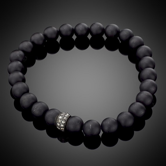 Black Onyx Bead & Diamond Roundel Bracelet