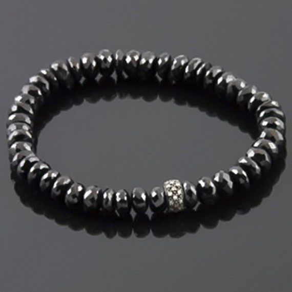 Black Spinel Stretch Bracelet with Champagne Diamond Rondel