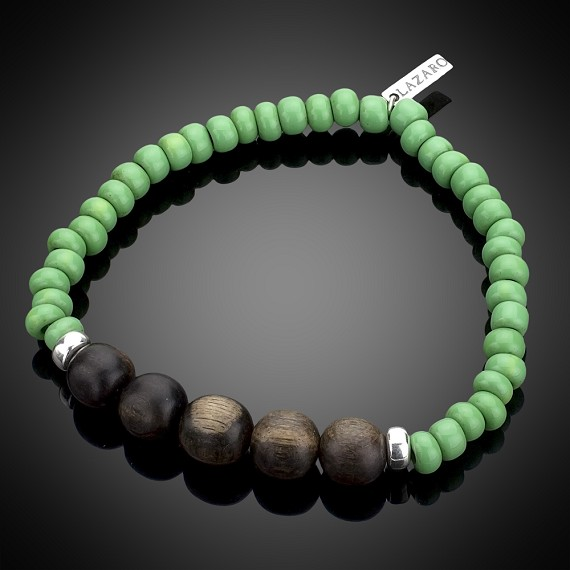Green Ceramic, Wood & Silver Bracelet
