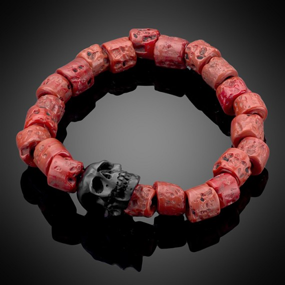 Hand-Blown Ceramic Skull Bracelet, Coral