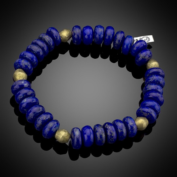 Lapis & Brass Beaded Bracelet