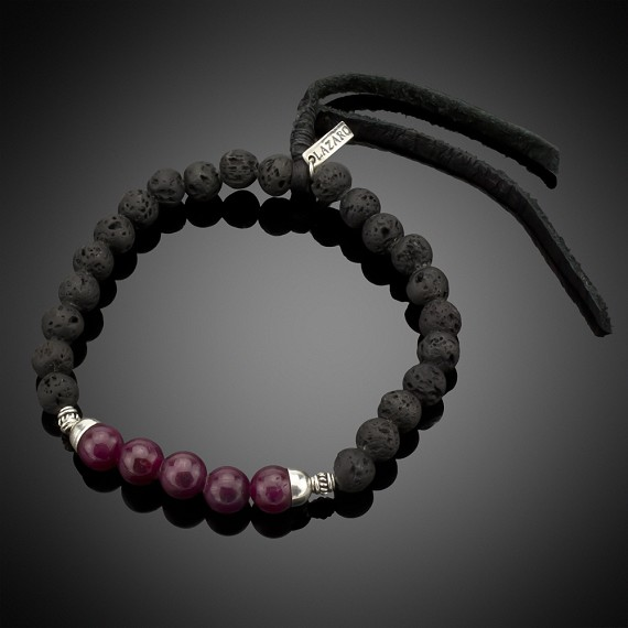 Lava beads, Sterling Silver, Ruby & Leather Bracelet