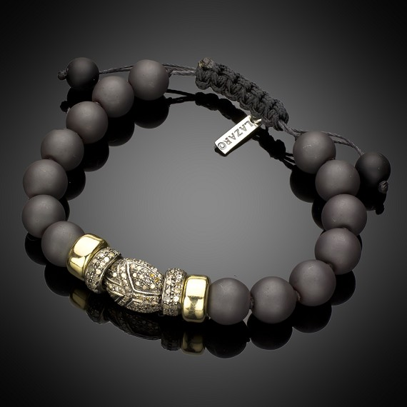 Limited Edition Hematite Beads with 14k Gold & Pave Diamonds Bracelet