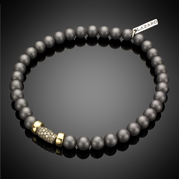 Limited Edition Hematite with 14k Gold Rondel & Pave Diamonds in Sterling Silver Bracelet