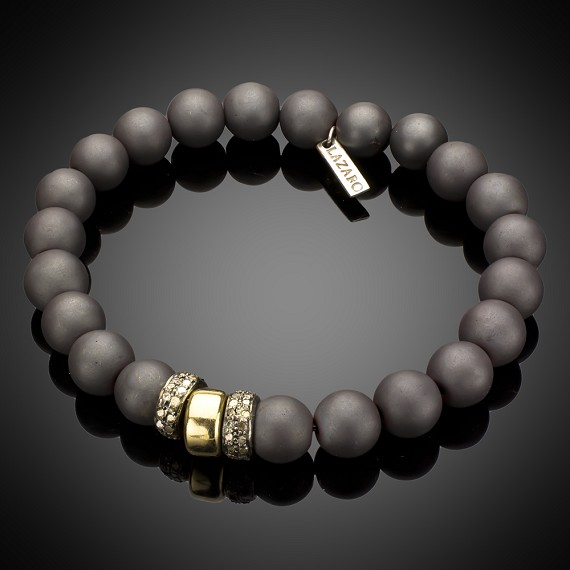 Limited Edition Large Hematite Beads with Diamond Rondels & 14k Gold Bracelet