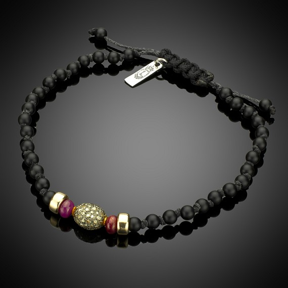 Limited Edition Matte Onyx with 14k Gold rondels, Ruby & Pave Champagne Diamonds in Sterling Silver Bracelet