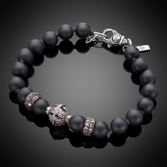 Sand Blasted Onyx with Silver Diamond Bead & Silver Rondels Limited Edition Bracelet
