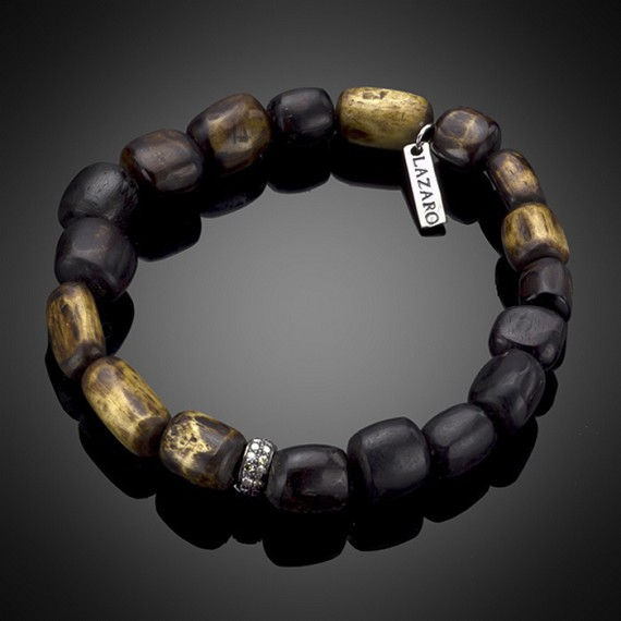 Wood Bracelet with Champagne Diamond Rondell