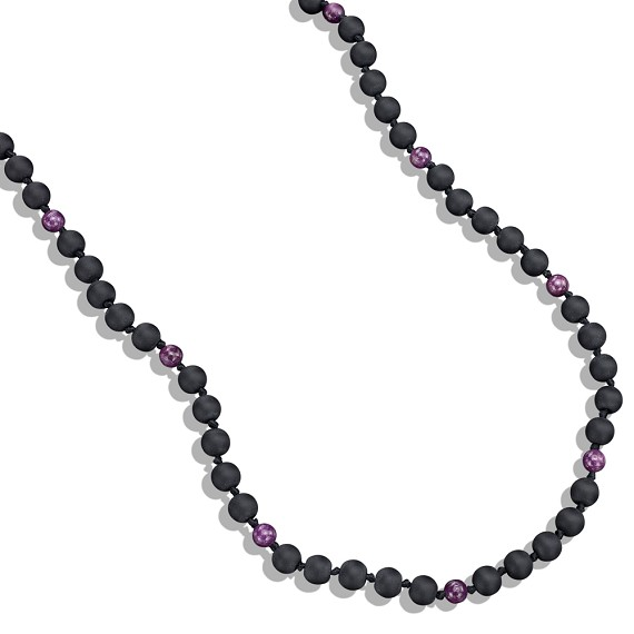 Onyx & Ruby Bead Necklace
