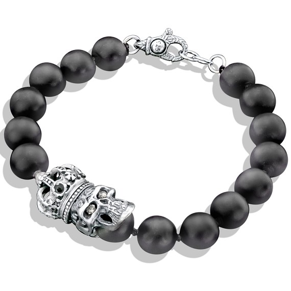 beaded matte silver bracelet inspirations skull onyx bb sterling jewelry neron giani black