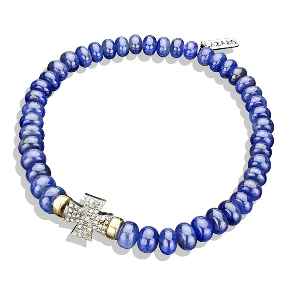 Limited Edition Sapphire & 14k Gold Double Sided Pave Cross Bracelet
