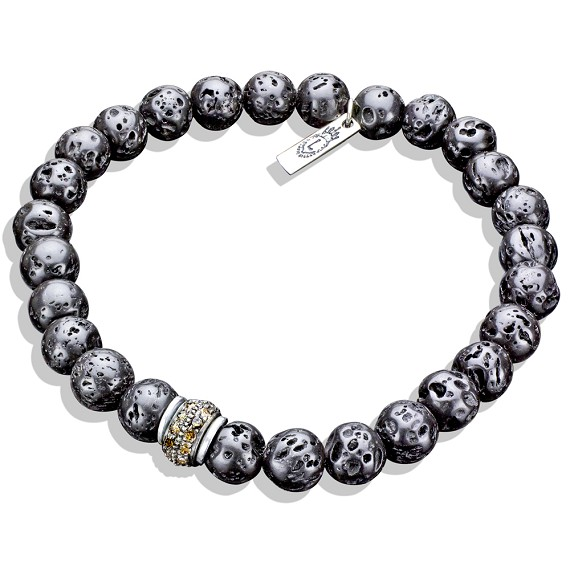 Limited Edition Silver, Diamond, & Lava Bead Bracelet