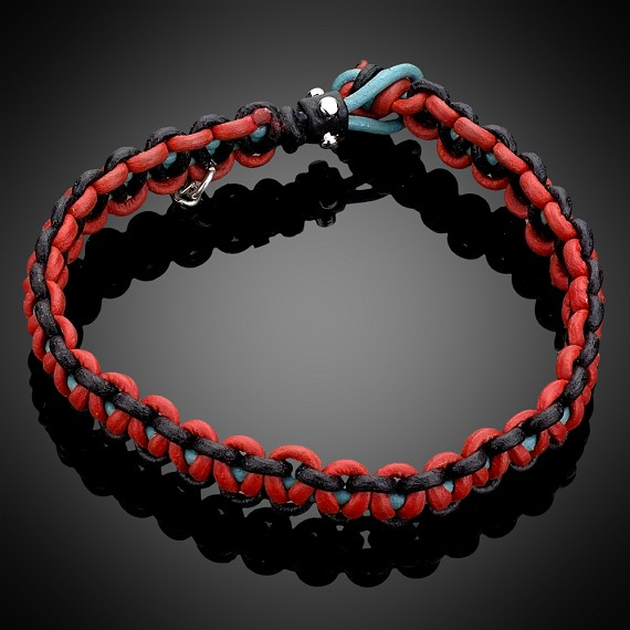 Hand Woven Black, Red & Turquoise Leather Bracelet