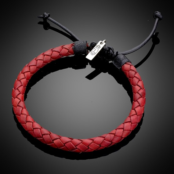 Red Black Woven Leather Bracelet