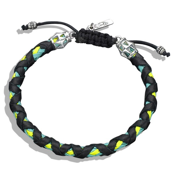 Silver Capped Black On Yellow & Turquoise Braided Leather Bracelet