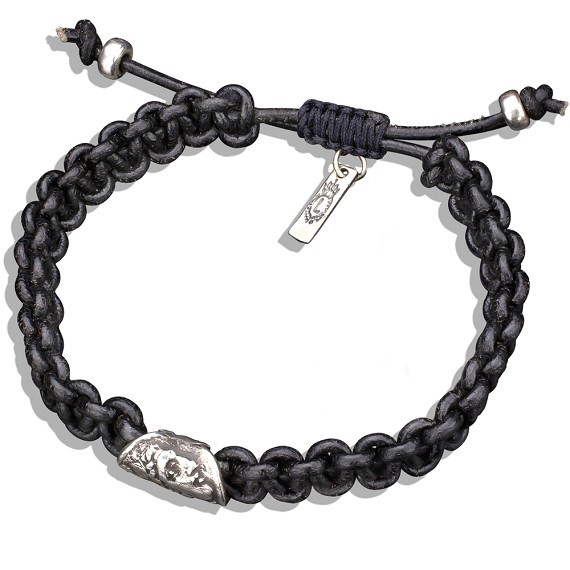 Silver Alexander The Great Black Leather Bracelet