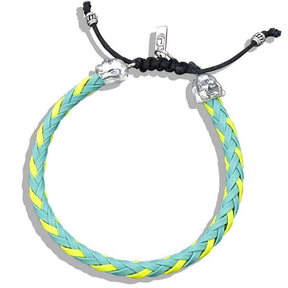 Silver Buddha Capped Yellow & Turquoise Braided Leather Bracelet