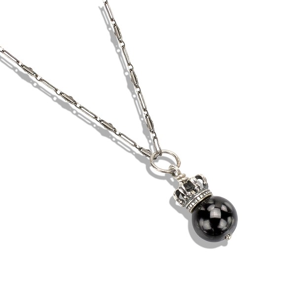 Silver Crown Black Onyx Bead Necklace