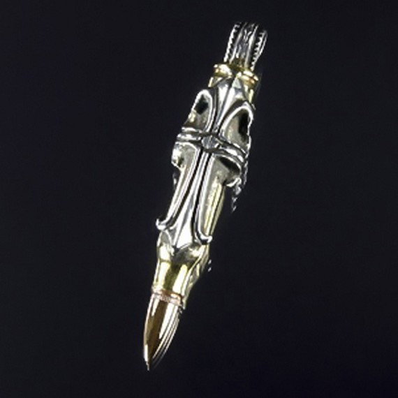 Brass & Silver Gothic Cross Bullet Charm