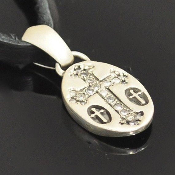 Silver Triple Cross Charm with White Diamonds