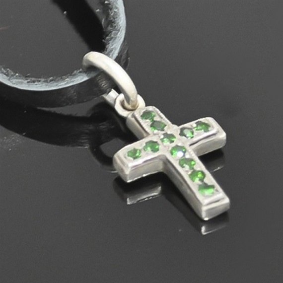 Tsavorite Cross Charm with Silver