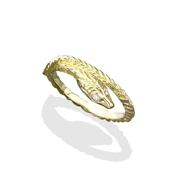 White Diamond Eyes 18K Gold Snake Ring