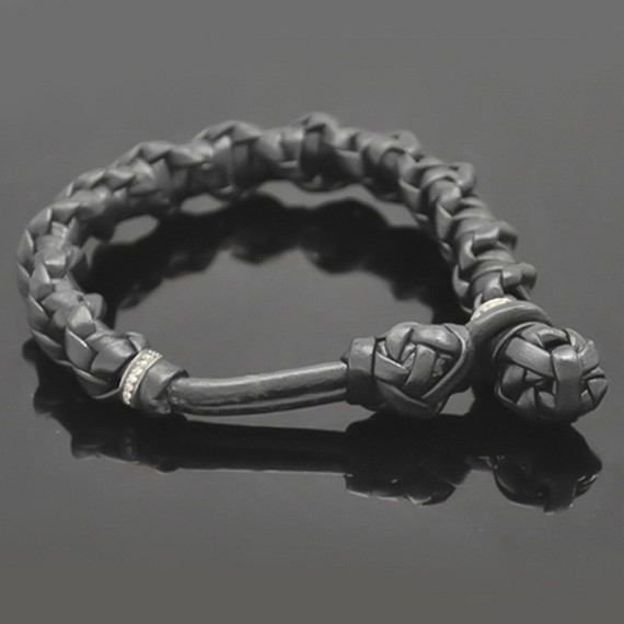 Hand-Woven Leather Bracelet with Grey Diamonds