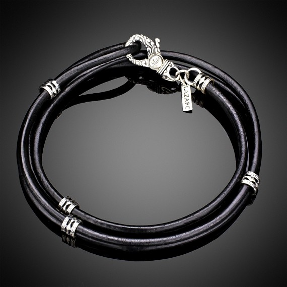 Hard Leather With Gothic Style Silver Clasp Bracelet