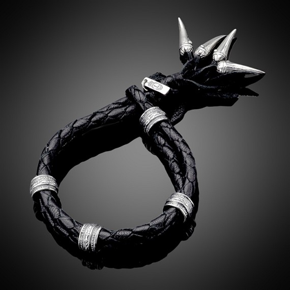 Leather Bracelet with Silver Spikes & Rondels