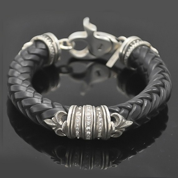 Leather Fleur-De-Lis Bracelet with White Diamonds