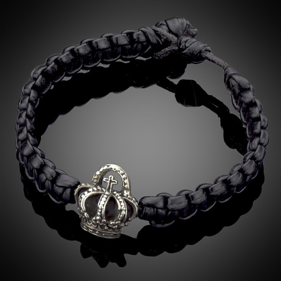 Leather Woven Bracelet with Silver Crown Charm