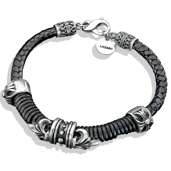 Silver Fleur-De-Lis Leather Men's Bracelet